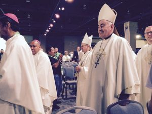Bishop Kettler at the World Meeting of Families opening ceremonies Sept. 22 in Philadelphia. Photo by Joe Towalski